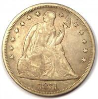 1871 SEATED LIBERTY SILVER DOLLAR $1 - EXTRA FINE  DETAILS -  EARLY TYPE COIN