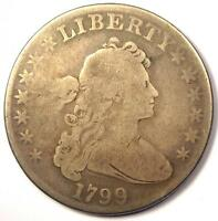 1799 DRAPED BUST SILVER DOLLAR $1 - VG DETAILS  GOOD -  TYPE COIN