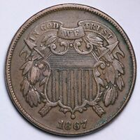 1867 TWO CENT PENNY CHOICE AU SHIPS FREE E244 UNF