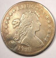1798 SMALL EAGLE DRAPED BUST SILVER DOLLAR $1 -  FINE DETAILS VF -