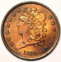 1835 CLASSIC HEAD HALF CENT 1/2C - SHARP AU DETAIL / WHIZZED - STRIKING LOOK
