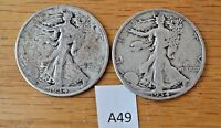 1934 P,  S  - SILVER WALKING LIBERTY HALF DOLLAR-LOT OF TWO COINS A49