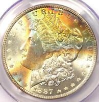 1887 TONED MORGAN SILVER DOLLAR $1 - CERTIFIED PCGS MINT STATE 63 -  RAINBOW TONING