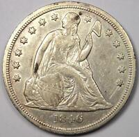 1846 SEATED LIBERTY SILVER DOLLAR $1 - AU DETAILS -  EARLY TYPE COIN