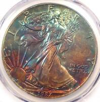 1987 TONED AMERICAN SILVER EAGLE DOLLAR $1 ASE - PCGS MINT STATE 65 - RAINBOW TONING COIN