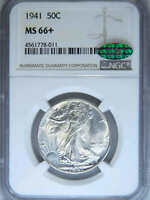 1941 WALKING LIBERTY HALF DOLLAR NGC MINT STATE 66 CAC BLAST WHITE SUPER LUSTER LOOKS MS