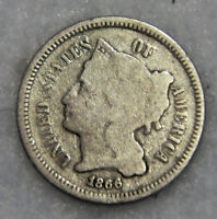 1866 3CN THREE CENT NICKEL GOOD CONDITION WITH GOOD PATINA