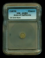 1875 OCTAG CHARM 1/4 ARMS OF CALIFORNIA CALIFORNIA GOLD ICG AU 53