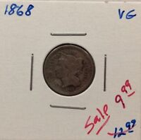 1868 THREE CENT NICKEL IN VG CONDITION