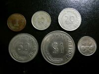 SINGAPORE 1967 1968 5 DIFFERENT COINS