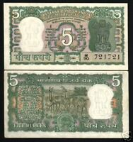 INDIA 5 RUPEES P55 1970 ANTELOPE TIGER UNC SJ SIGN CURRENCY MONEY BILL BANK NOTE