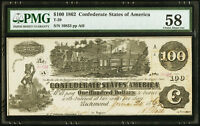 1862 $10 CONFEDERATE CURRENCY T39  PMG 58