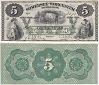 1862 $5 SOMERSET & WORCESTER BANK SALISBURY MARYLAND OBSOLETE CCU