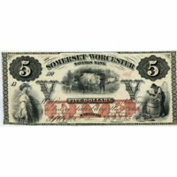 MARYLAND SALISBURY 1862 $5 SOMERSET & WORCESTER SAVINGS BANK S 722 UNC