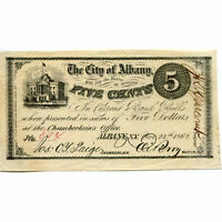 NEW YORK ALBANY 1862 FIVE CENTS CITY OF ALBANY C 380 CU