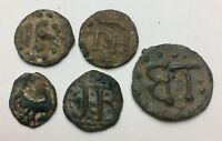 X5 EXCEPTIONAL POST MEDIEVAL LEAD FARM TOKENS   PROBABLY CIRCA 1600S  A394
