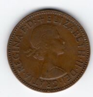 GREAT BRITAIN ELIZABETH II HALF PENNY 1/2D 1958 NICE COIN R40789