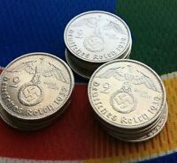 1  WWII 2 MARK GERMAN  SILVER COIN THIRD REICH REICHSMARK 5