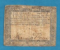 1776 MARYLAND $ 4 COLONIAL CURRENCY AFFORDABLE NICE SIGNATURES FINE GRADE