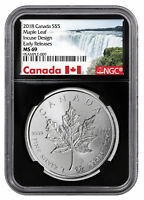 2018 CANADA 1 OZ SILVER MAPLE LEAF  INCUSE $5 NGC MS69 ER BLACK SKU52136