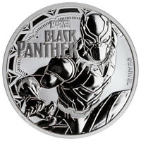 2018 TUVALU BLACK PANTHER 1 OZ SILVER MARVEL SERIES $1 BU COIN IN CAP SKU52233