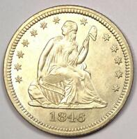 1846 SEATED LIBERTY QUARTER 25C   SHARP DETAILS   NICE LUSTER    COIN