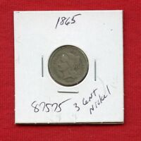1865 3 CENT NICKEL 3C 87575 $ HIGH GRADE COIN $ US MINT  KEY DATE ESTATE