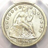 1846 SEATED LIBERTY DIME 10C   CERTIFIED PCGS AU DETAILS    DATE IN AU
