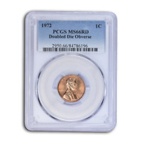 1972 LINCOLN CENT DOUBLE DIE OBVERSE MS 66 PCGS  RED    SKU115535