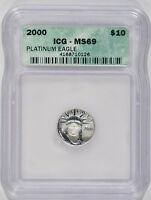 UNITED STATES 2000 $10 1/10TH OZ PLATINUM EAGLE ICG MS69 4168710126