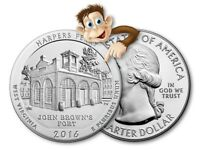 2016 5 OZ SILVER AMERICA THE BEAUTIFUL    HARPERS FERRY WV    BULLION ISSUE