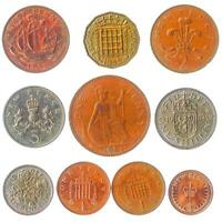 10 COINS FROM UK ENGLAND GREAT BRITAIN: PENNY SHILLING PENCE SINCE 1953
