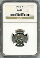 1943-S LINCOLN STEEL CENT PENNY NGC MINT STATE 66 CERTIFIED - SAN FRANCISCO MINT AQ438
