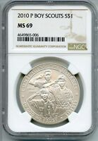 2010 P BOY SCOUTS SILVER DOLLAR NGC MS 69   COMMEMORATIVE COIN AQ462