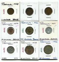 PORTUGAL : LOT OF 9 DIFFERENT COINS 1917 1979