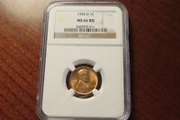 1954-D LINCOLN CENT NGC CERTIFIED MINT STATE 66 RD-BRILLIANT RED COLOR & HIGH GRADE