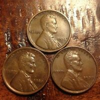 HIGHER GRADE 1918 S,1920,1933 WHEAT CENT LINCOLN CENT  ANTIQUE COIN 848F