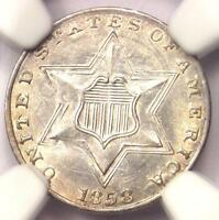 1858 THREE CENT SILVER PIECE 3CS - CERTIFIED NGC UNC DETAILS MS -  DATE