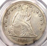1846 SEATED LIBERTY SILVER DOLLAR $1 - PCGS AU DETAILS -  EARLY DATE COIN