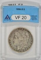 UNITED STATES 1896-S MORGAN SILVER DOLLAR $1 ANACS VF20 2963850