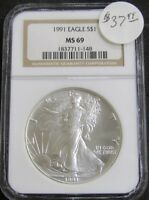 1991 AMERICAN SILVER EAGLE 1OZ .999 FINE SILVER COIN NGC MINT STATE 69