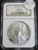 1987 AMERICAN SILVER EAGLE 1OZ .999 FINE SILVER COIN NGC MINT STATE 69