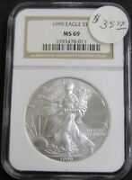 1999 AMERICAN SILVER EAGLE 1OZ .999 FINE SILVER COIN NGC MINT STATE 69