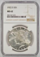 UNITED STATES 1922-S PEACE SILVER DOLLAR $1 NGC MINT STATE 62 2801347-023