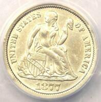 1877-CC SEATED LIBERTY DIME 10C - CERTIFIED ANACS AU50 DETAILS -  DATE COIN