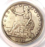 1877 TRADE SILVER DOLLAR T$1 - ANACS AU55 DETAILS -  COIN - NEAR UNC MS