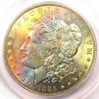 1885 TONED MORGAN SILVER DOLLAR $1 - CERTIFIED ANACS MINT STATE 63 -  RAINBOW TONING