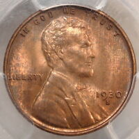 1930-S LINCOLN CENT, CHOICE UNCIRCULATED PCGS MINT STATE 64RB, SOME COLOR