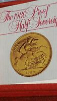 Q 22CT GOLD 1980 PROOF HALF SOVEREIGN IN ROYAL MINT BOX