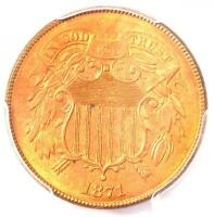 1871 TWO CENT PIECE 2C - PCGS UNCIRCULATED DETAIL MS UNC -  CERTIFIED COIN